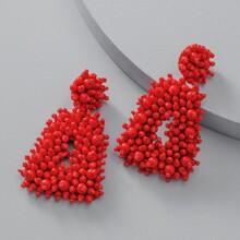 Geometrische Ohrringe mit Perlen Dekor