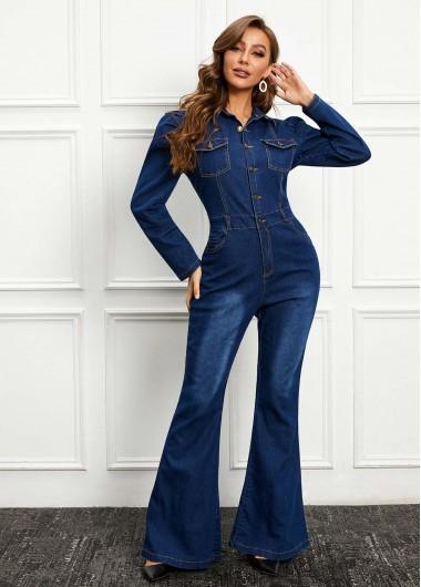 Long Sleeve Turndown Collar Denim Jumpsuit - XL