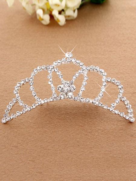 Milanoo Silver Princess Tiara Ballet Dance Hair Comb Beaded Party Hair Accessories For Kids
