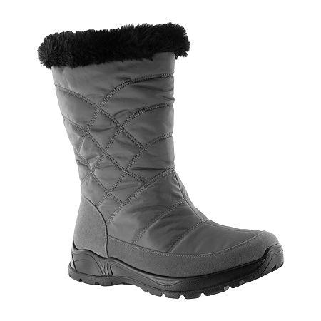 Easy Street Womens Cuddle Waterproof Winter Boots, 7 Wide, Gray