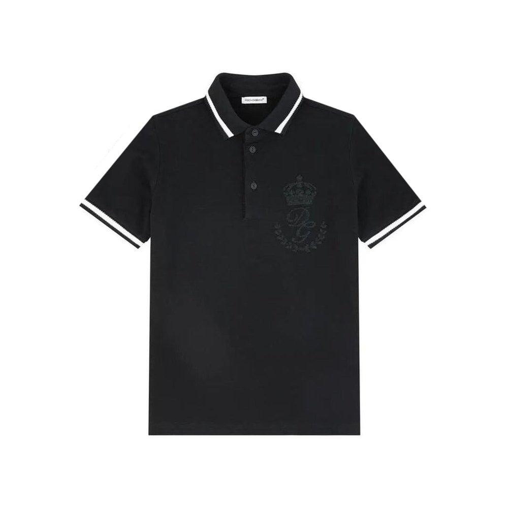 Dolce & Gabbana Cotton Polo Colour: BLACK, Size: 12 YEARS