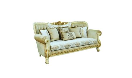 Fantasia Collection Luxury Sofa  Hand Carved and Handcrafted  Seat cushions Reversible  Mahogany Wood Solid  in Gold and Off White
