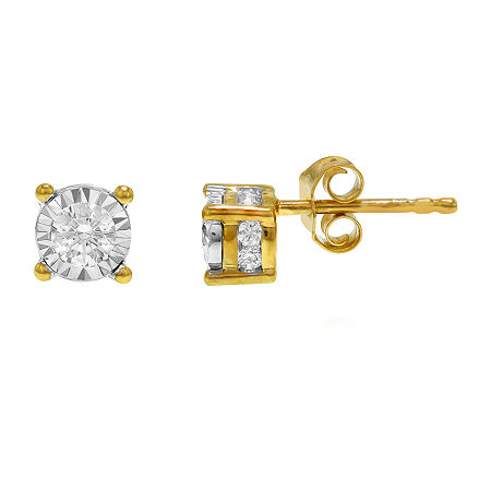 Tru Miracle 1/2 CT. T.W. Genuine White Diamond 10K Gold 5.8mm Stud Earrings, One Size , No Color Family