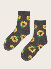 Sunflower Pattern Socks 1pair