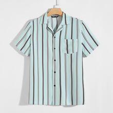 Camisa de rayas con parche con bolsillo