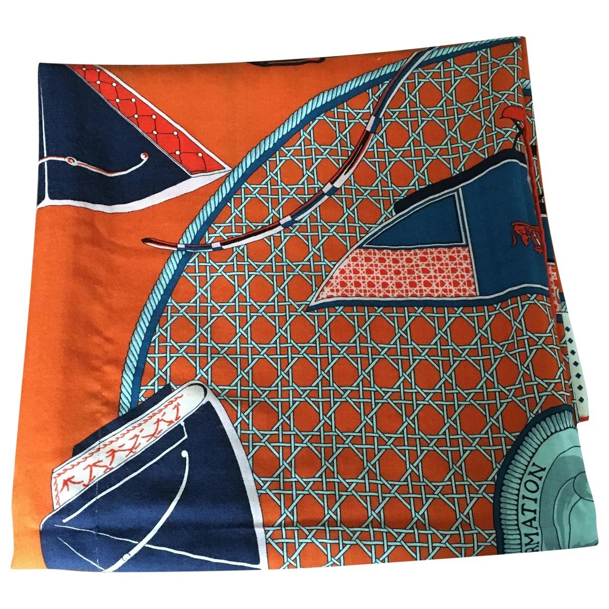 Hermes Carre Geant silk 140 Schal in  Orange Kaschmir