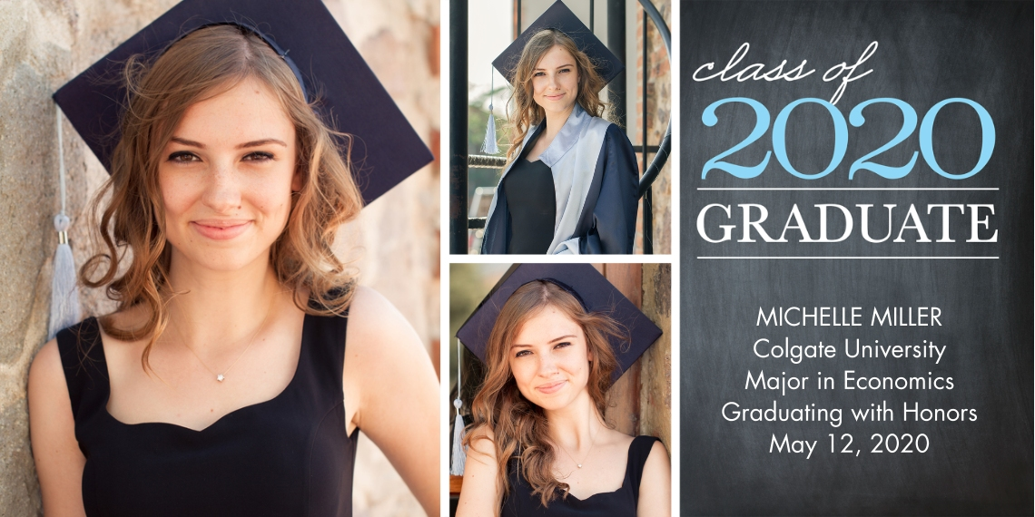 2020 Graduation Announcements Flat Glossy Photo Paper Cards with Envelopes, 4x8, Card & Stationery -Graduation Class 2020 by Tumbalina
