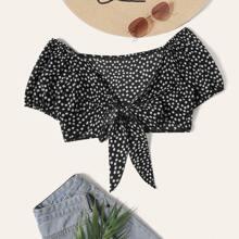 Ditsy Daisy Floral Self-Tie Crop Top