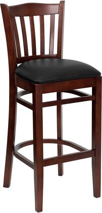 Hercules Collection XU-DGW0008BARVRT-MAH-BLKV-GG Restaurant Barstool with Vertical Slat Back Design  Footrest Support  Mahogany Solid European Beech