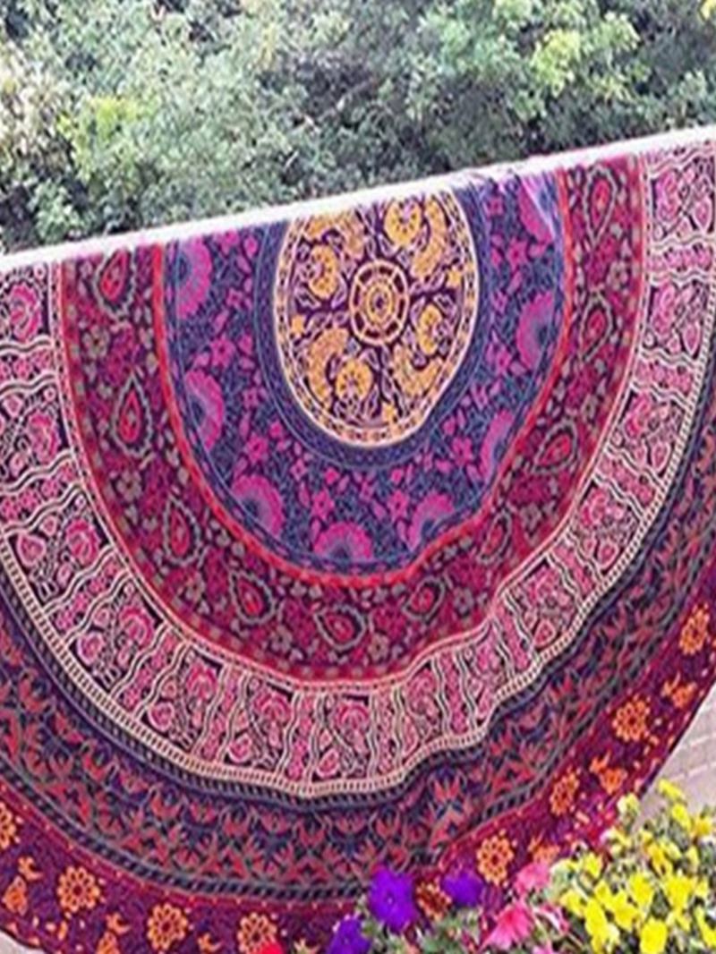 Ericdress Multicolor Flower Pattern Print Beach Blanket