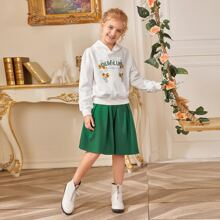 Girls Letter & Floral Print Hoodie & Skirt Set