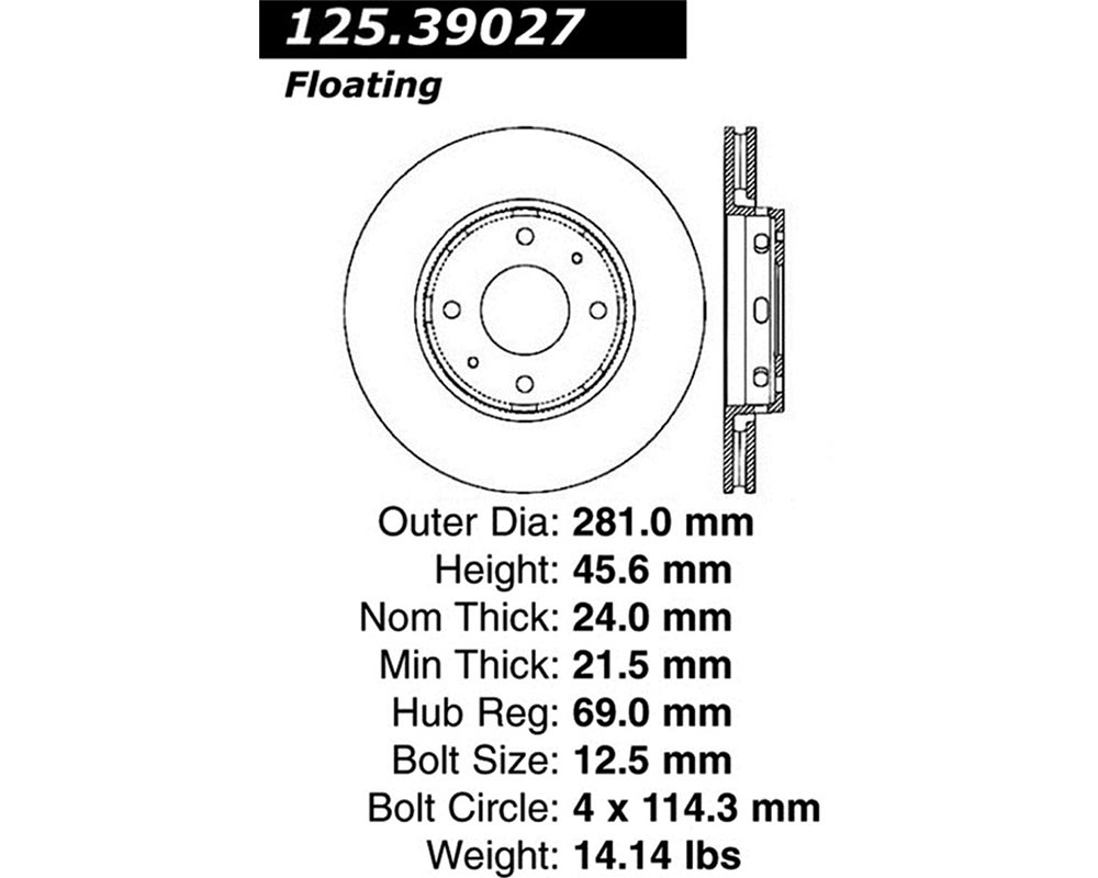 StopTech 125.39027 Premium High-Carbon Rotor Volvo Front