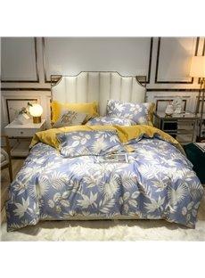 Luxury Satin 60s Cotton Duvet Cover Set Pastoral Floral 4-Piece Smooth Warm Bedding Set