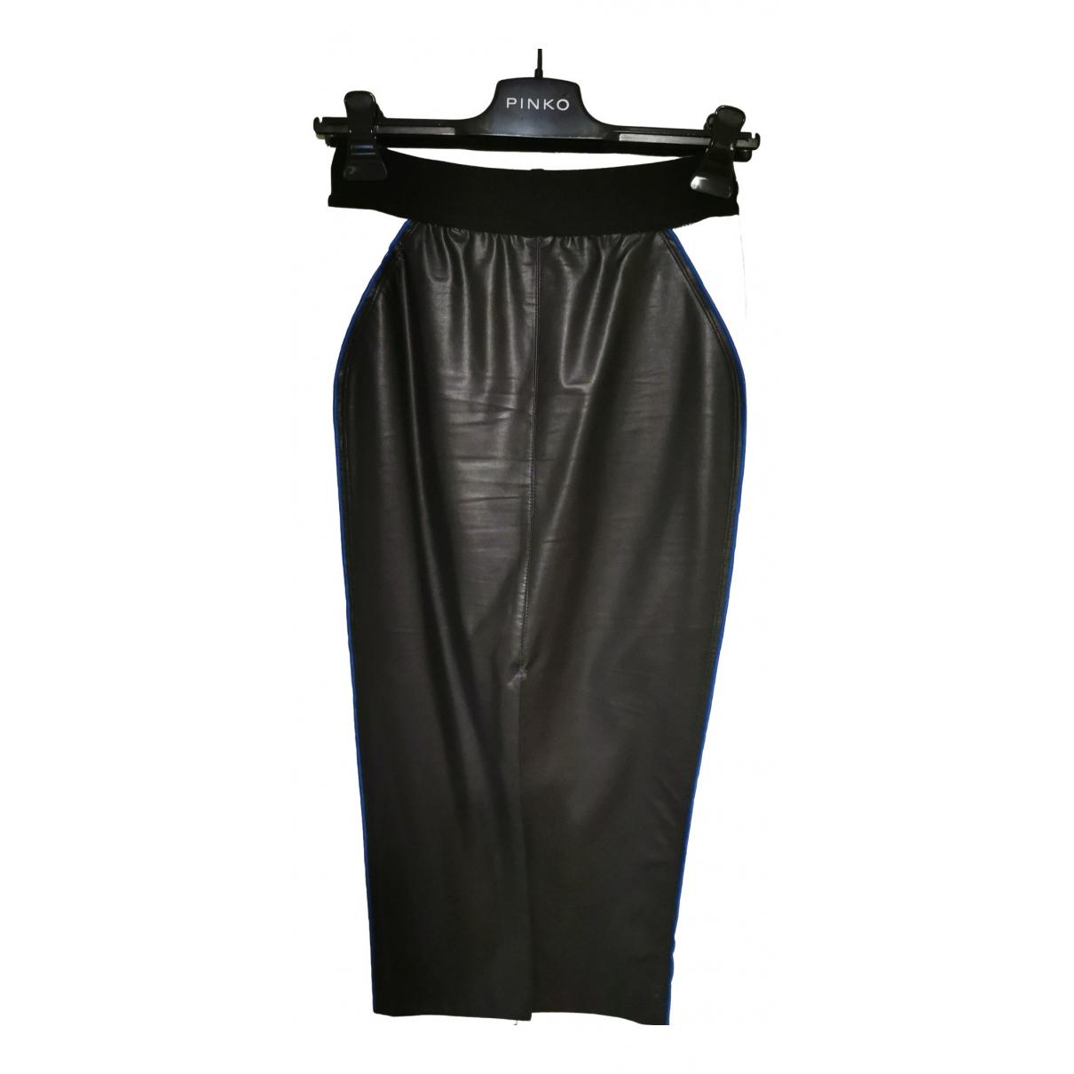 Pinko - Jupe   pour femme en cuir - noir