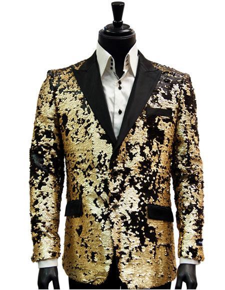 Men's 2 Button Single Breasted Black Matte Gold Sequin Pattern Blazer