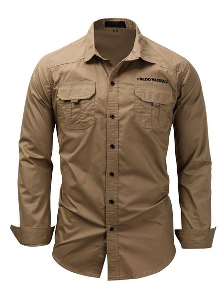 Milanoo Camisa casual para hombres Cuello vuelto Camisas blancas de gran tamaño casuales