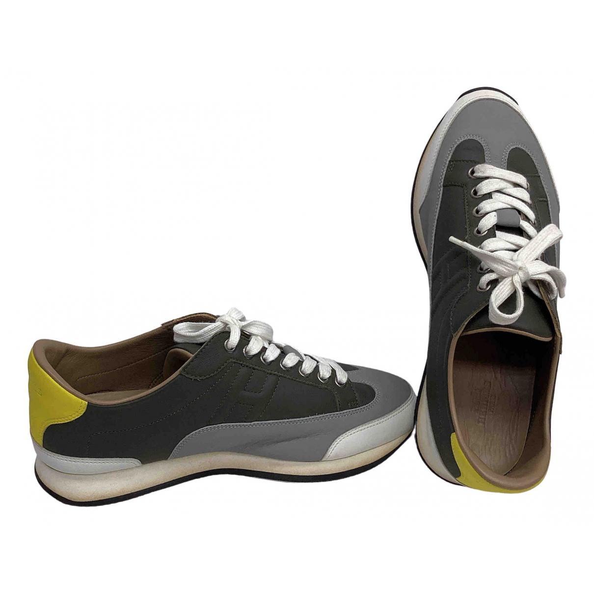 Hermes - Baskets   pour homme en cuir - gris