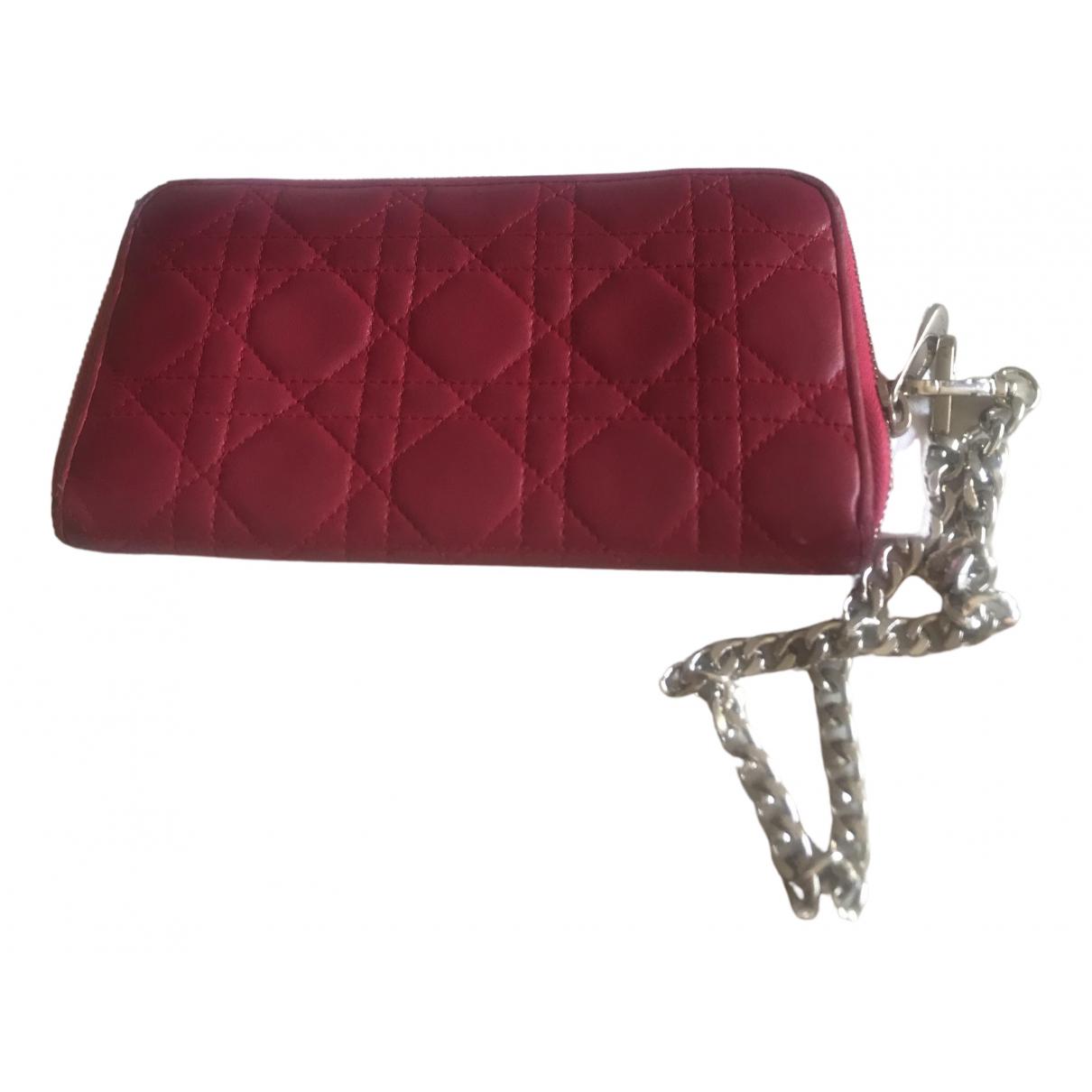Dior Lady Dior Portemonnaie in  Rosa Leder