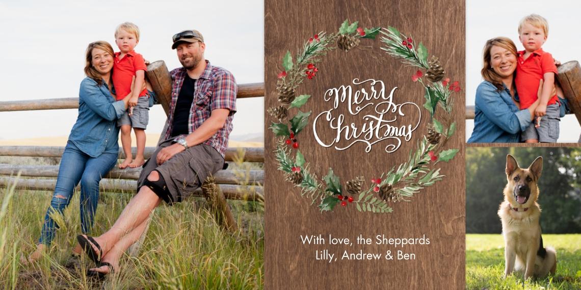 Christmas Photo Cards 4x8 Flat Card Set, 85lb, Card & Stationery -Christmas Wreath Pine Greenery by Tumbalina
