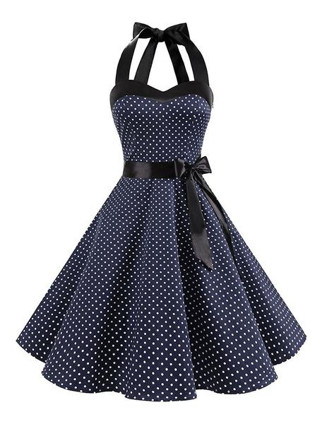 Milanoo Polka Dot Vintage Dress Halter Bows Backless Cotton Retro Pin Up Dress