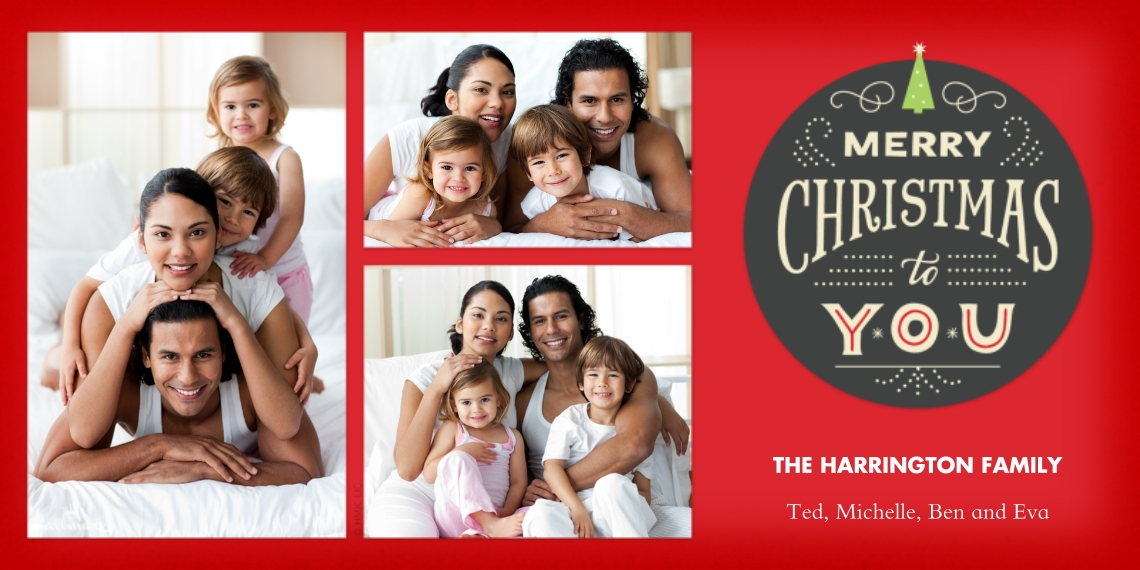 Christmas Photo Cards Flat Matte Photo Paper Cards with Envelopes, 4x8, Card & Stationery -Merry Christmas Medallion