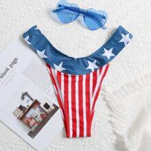 Bikini Hoschen mit Stern & Streifen Muster und hohem Ausschnitt