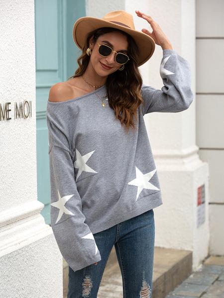 Yoins Casual Star Round Neck Long Sleeves Sweatshirt