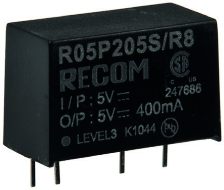Recom 2W Isolated DC-DC Converter Through Hole, Voltage in 10.8 → 13.2 V dc, Voltage out 12V dc