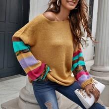 Lantern Sleeve Striped Oversized Sweater