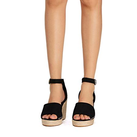 Yoins Black Fashion Suede Peep Toe Sandals