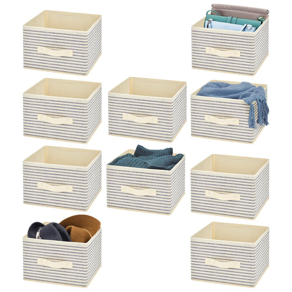 Collapsible Fabric Cube Storage Bin for Closet in Natural/Cobalt Blue Stripe, 11