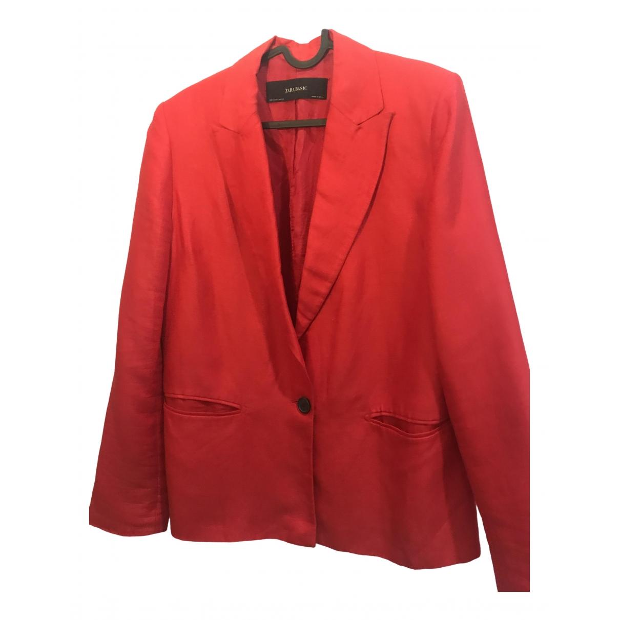 Zara - Veste   pour femme en lin - rouge