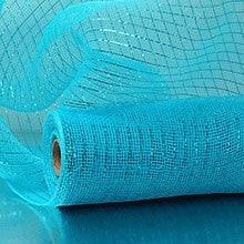Turquoise Deco Mesh W/ Metallic Stripes - 21 X 10 Yards - Polypropylene / Cellophane - Wraps by Paper Mart