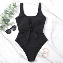 Cut-out Knot Front One Piece Swimsuit