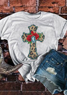 Leopard Cross Rose T-Shirt Tee - Light Grey