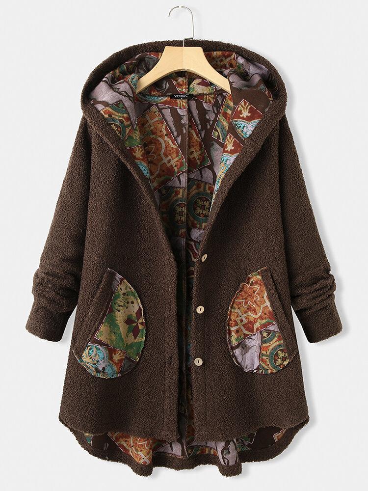 Vintage Printed Long Sleeve Hooded Patchwork Asymmetrical Coat For Women
