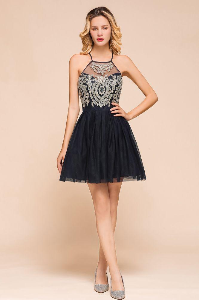 Arleana | Robe de soiree courte noire elegante princesse licou