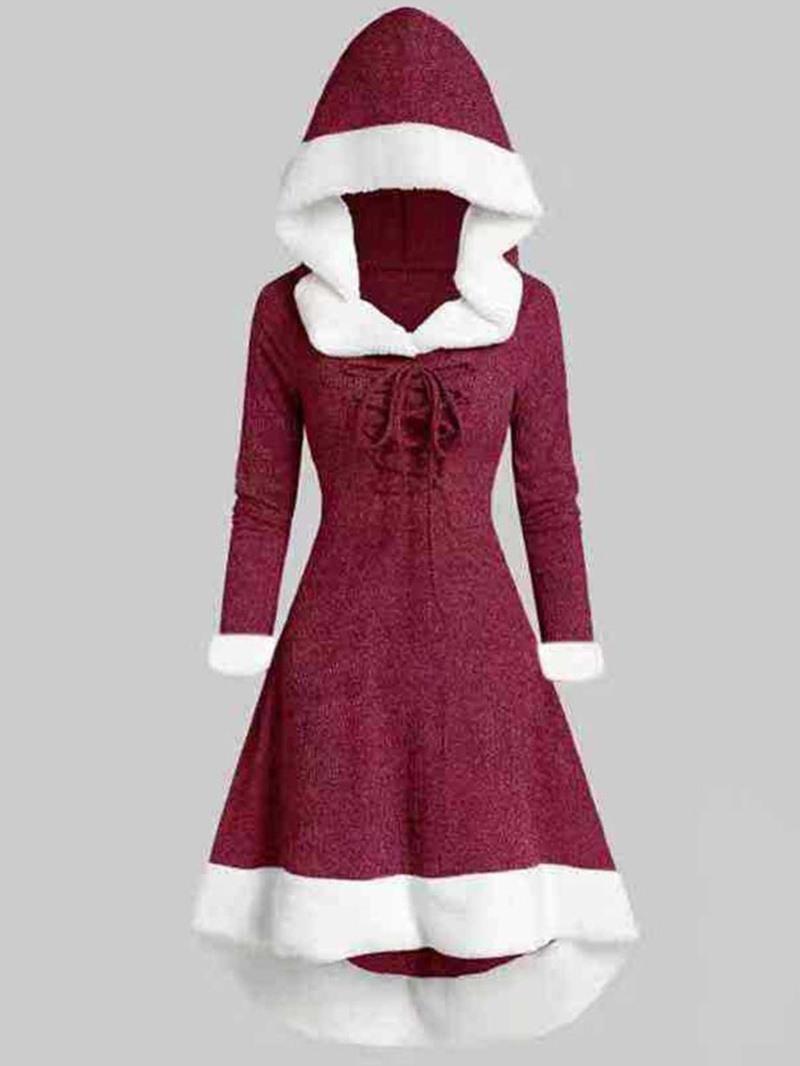 Ericdress Mid-Calf Long Sleeve Lace-Up Regular Pullover Dress