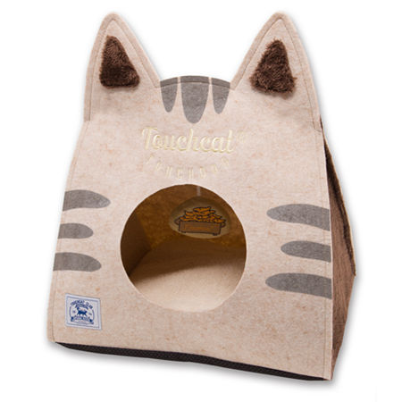 Touchcat 'Kitty Ears' Travel On-The-Go Collapsible Folding Cat Pet Bed House with Toy, One Size , Brown