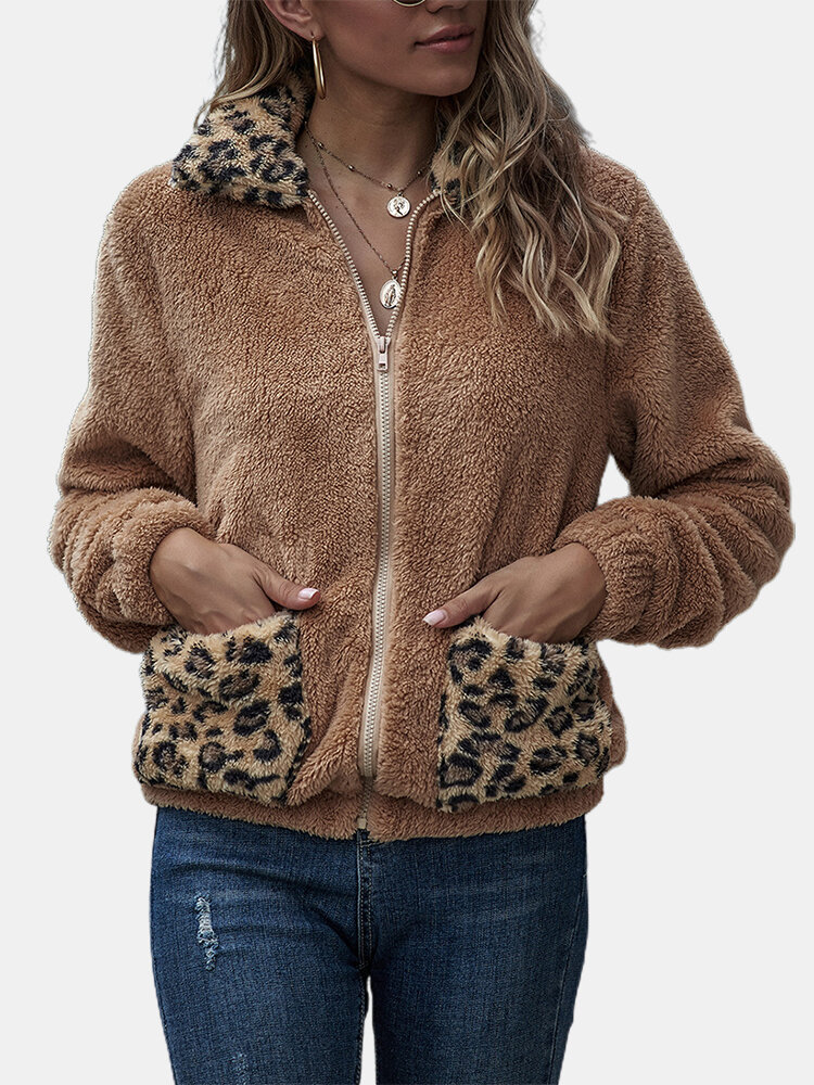Leopard Print Patchwork Plush Long Sleeve Casual Coat For Women
