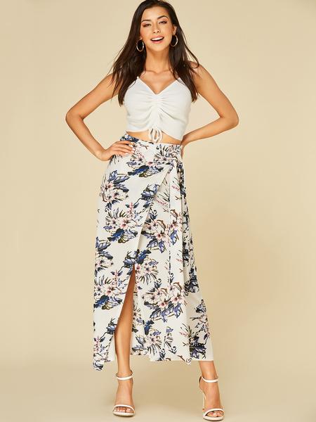 Yoins White Self-tie Design Floral Print Slit Hem Skirt