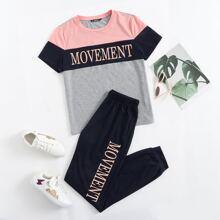 Letter Graphic Colorblock Top & Sweatpants Set