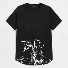 T-Shirt mit gebogenem Saum und Grafik Muster