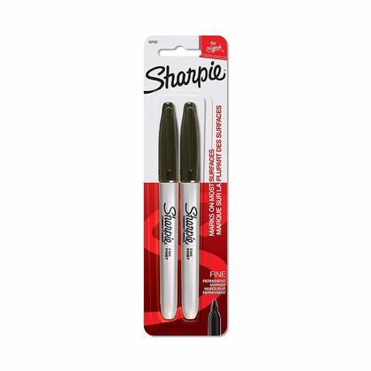 Sharpie® Fine Point Permanent Marker, 2 / Pack, Black / Red