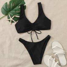 Knot Front High Leg Bikini Swimsuit
