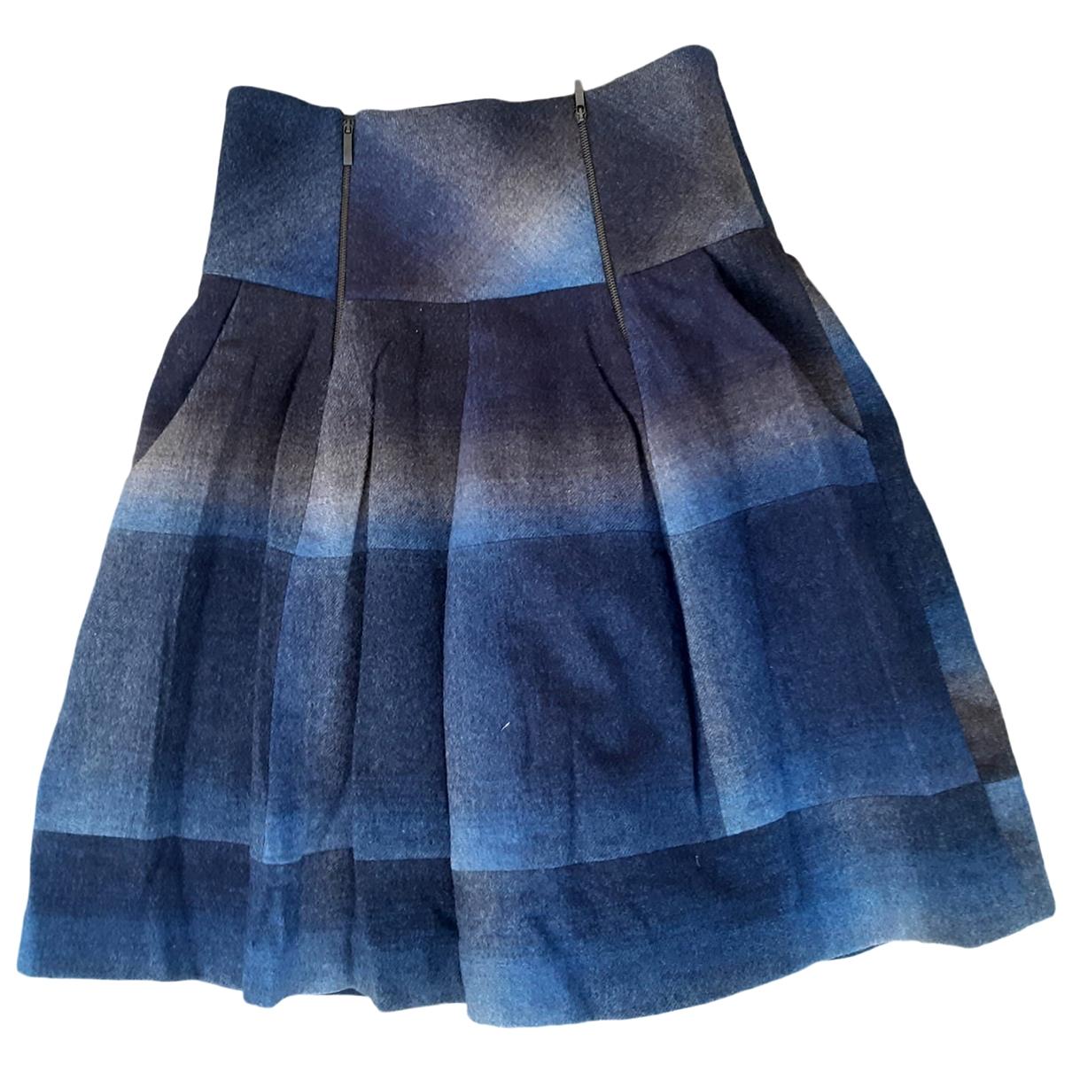 Brunello Cucinelli - Jupe   pour femme en laine - bleu