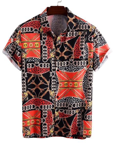 Yoins Men Summer Hawaii Cotton Scarf Print Bohemian Beach Holiday Shirt