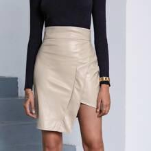 Asymmetrical Hem PU Leather Skirt