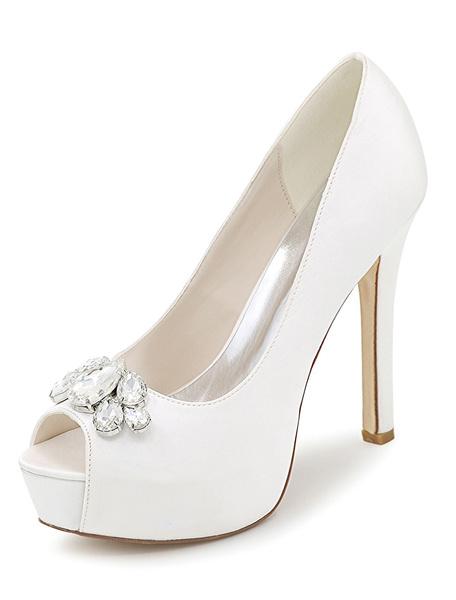 Milanoo Silver Wedding Shoes Platform Peep Toe Rhinestone Slip On High Heel Bridal Shoes