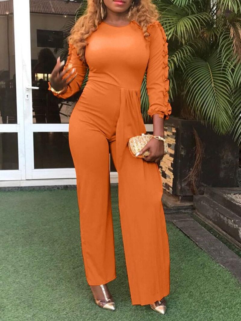 Ericdress Plain Full Length Office Lady Slim Straight Jumpsuit
